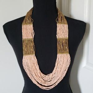 Multi-Strand Beaded Necklace Pink/Gold